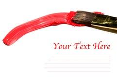 Βούρτσα με το κόκκινο ακρυλικό και διάστημα αντιγράφων στοκ φωτογραφία