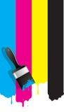 Βούρτσα με το χρώμα cmyk απεικόνιση αποθεμάτων
