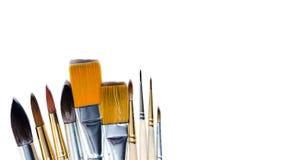 Βούρτσα στο χρώμα με τα watercolors που απομονώνονται στο άσπρο υπόβαθρο, πραγματικός και τεχνητός διάστημα αντιγράφων, πρότυπο Στοκ Εικόνα