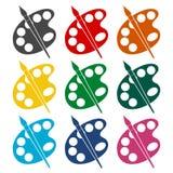 Βούρτσα χρωμάτων με τα εικονίδια παλετών καθορισμένα Στοκ Εικόνα