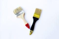 Βούρτσα δύο χρωμάτων σε ένα άσπρο υπόβαθρο Στοκ Φωτογραφίες