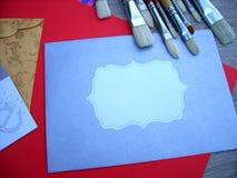 Βούρτσες και φάκελοι καλλιτεχνών στοκ φωτογραφία