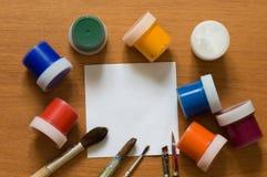 Βούρτσες και χρώμα. Στοκ Εικόνα