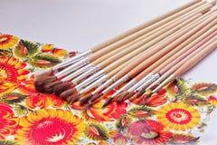 Βούρτσες χρωμάτων Δημιουργικό σχέδιο Βούρτσες καλλιτεχνών στοκ εικόνες