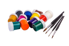 Βούρτσες, χρώματα, καλλιτεχνικά Στοκ Φωτογραφία