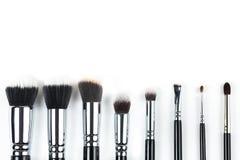 Βούρτσες Makeup στο άσπρο υπόβαθρο Στοκ Εικόνες