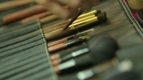 Βούρτσες Makeup απόθεμα βίντεο