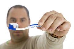 βούρτσισμα των δοντιών ατόμ& Στοκ εικόνα με δικαίωμα ελεύθερης χρήσης