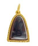 Βούδας και χρυσός βαθμός τοις εκατό κρεμαστών κοσμημάτων πλαισίων 90k ταϊλανδικός χρυσός isolat Στοκ φωτογραφία με δικαίωμα ελεύθερης χρήσης