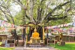 Βούδας με το πρώτο δέντρο Wat Sri Maha Pot, Ταϊλάνδη bodhi Στοκ Εικόνα