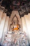 Βούδας στο ναό Wat Chaiwatthanaram, ιστορικό πάρκο Ayutthaya, Στοκ εικόνα με δικαίωμα ελεύθερης χρήσης