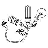 βολβοί εξοικονόμησης ενέργειας με το εικονίδιο καλωδίου τροφοδοσίας Στοκ Εικόνες