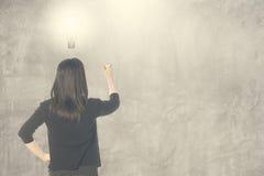 Βολβός ιδέας σκέψης επιχειρησιακών γυναικών και γράψιμο στον κενό τοίχο για το κείμενο και το υπόβαθρο Στοκ εικόνες με δικαίωμα ελεύθερης χρήσης