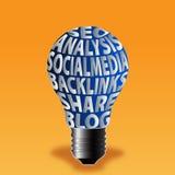 Βολβός του μεριδίου socialmedia ανάλυσης seo backlinks blog Στοκ Φωτογραφία