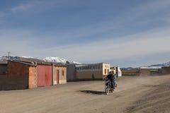Βολιβιανός γύρος μοτοσικλετών Sajama, Βολιβία Στοκ Εικόνες