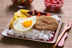 Βολιβιανό πιάτο αποκαλούμενο Silpancho Στοκ Εικόνα
