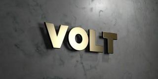 Βολτ - χρυσό σημάδι που τοποθετείται στο στιλπνό μαρμάρινο τοίχο - τρισδιάστατο δικαίωμα ελεύθερη απεικόνιση αποθεμάτων διανυσματική απεικόνιση