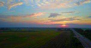 Βράδυ θερινού ηλιοβασιλέματος επάνω από το αγροτικό τοπίο τομέων σίτου επαρχίας Πτήση κηφήνων φιλμ μικρού μήκους