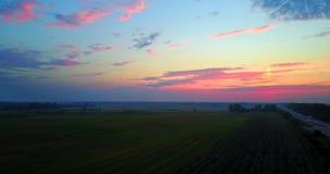 Βράδυ θερινού ηλιοβασιλέματος επάνω από το αγροτικό τοπίο τομέων σίτου οδικής επαρχίας Πτήση κηφήνων φιλμ μικρού μήκους