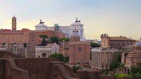 Βράδυ Ρώμη, άποψη του ρωμαϊκού φόρουμ απόθεμα βίντεο
