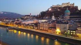 Βράδυ Σάλτζμπουργκ, Αυστρία απόθεμα βίντεο