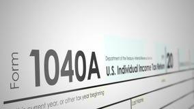 Βράση πέρα από μια φορολογική μορφή 1040A από το IRS με το ρηχό βάθος του τομέα διανυσματική απεικόνιση