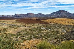 Βράχοι και άμμος Tenerife, Ισπανία Αριανές απόψεις Δρόμος ηφαιστείων Στοκ Φωτογραφία