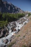 Βράχοι και θορυβώδης ποταμός, ορεινές περιοχές Τοπίο των βουνών Altai στοκ εικόνα με δικαίωμα ελεύθερης χρήσης