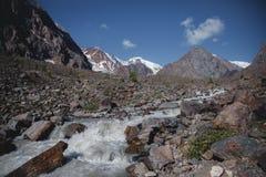 Βράχοι και θορυβώδης ποταμός, ορεινές περιοχές Τοπίο των βουνών Altai στοκ εικόνες