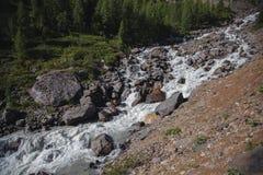 Βράχοι και θορυβώδης ποταμός, ορεινές περιοχές Τοπίο των βουνών Altai στοκ φωτογραφίες