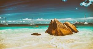 Βράχοι και παραλία του Λάτσιο Anse σε Praslin, Σεϋχέλλες Στοκ φωτογραφία με δικαίωμα ελεύθερης χρήσης