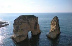 Βράχοι περιστεριών (βράχοι Raouché), Βηρυττός, Λίβανος στοκ εικόνες