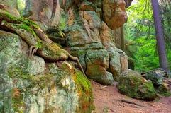 Βράχοι στα βουνά Stolowe στη Σιλεσία Στοκ Εικόνες