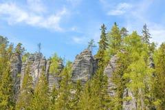 Βράχοι στο εθνικό πάρκο των βράχων adrspach-Teplice - Δημοκρατία της Τσεχίας Στοκ εικόνα με δικαίωμα ελεύθερης χρήσης