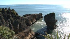 Βράχοι τηγανιτών στο Westcoast, νότιο νησί, Νέα Ζηλανδία φιλμ μικρού μήκους