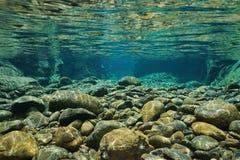 Βράχοι υποβρύχιοι στην κοίτη ποταμού με σαφή του γλυκού νερού Στοκ εικόνα με δικαίωμα ελεύθερης χρήσης