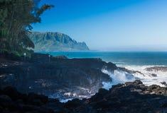 Βράχοι χτυπήματος κυμάτων στις βασίλισσες Bath Kauai στοκ εικόνες με δικαίωμα ελεύθερης χρήσης