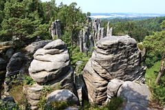Βράχοι ψαμμίτη στον τσεχικό παράδεισο Στοκ φωτογραφία με δικαίωμα ελεύθερης χρήσης