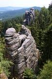 Βράχοι ψαμμίτη στον τσεχικό παράδεισο Στοκ Εικόνες