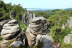 Βράχοι ψαμμίτη στον τσεχικό παράδεισο Στοκ φωτογραφίες με δικαίωμα ελεύθερης χρήσης