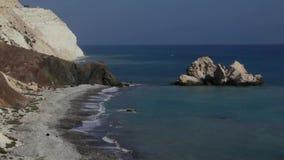 Βράχοι Aphrodite Κύπρος απόθεμα βίντεο