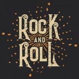 Βράχος - και - γραφικό σχέδιο μπλουζών ρόλων, διανυσματική απεικόνιση Στοκ Εικόνες