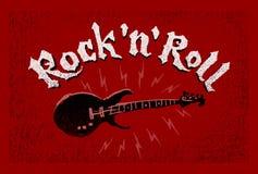 Βράχος - και - εγγραφή ρόλων Ηλεκτρική κιθάρα στο κόκκινο υπόβαθρο grunge απεικόνιση αποθεμάτων