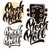 Βράχος - και - εμβλήματα μουσικής ρόλων, ετικέτες, εγγραφή διακριτικών Στοκ Εικόνες