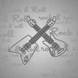 Βράχος - και - θέμα κιθάρων ρόλων Στοκ φωτογραφία με δικαίωμα ελεύθερης χρήσης