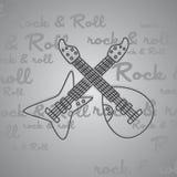 Βράχος - και - θέμα κιθάρων ρόλων Στοκ Φωτογραφία