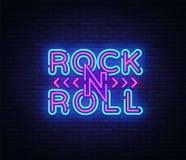 Βράχος - και - λογότυπο ρόλων στο ύφος νέου Πινακίδα νύχτας νέου μουσικής ροκ, διανυσματική απεικόνιση προτύπων σχεδίου για το φε ελεύθερη απεικόνιση δικαιώματος