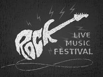 Βράχος - και - ρόλος Εγγραφή με μορφή ηλεκτρικής κιθάρας στο μαύρο υπόβαθρο grunge διανυσματική απεικόνιση