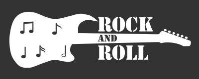 Βράχος - και - ρόλος βράχος εμβλημάτων - και - ρόλος υπό μορφή ηλεκτρικής κιθάρας διανυσματική απεικόνιση