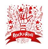 Βράχος - και - σημάδι χεριών ρόλων Στοκ Εικόνα